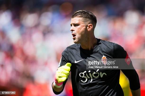 Ivan Cuellar of Real Sporting de Gijon reacts during the La Liga match between Real Sporting de Gijon and UD Las Palmas at Estadio El Molinon on May...