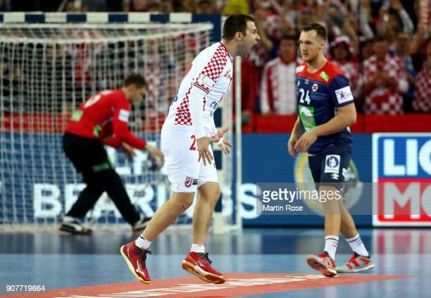 Ivan Cupic of Croatia celebrates after scoring a goal during the Men's Handball European Championship main round match between Croatia and Norway at...