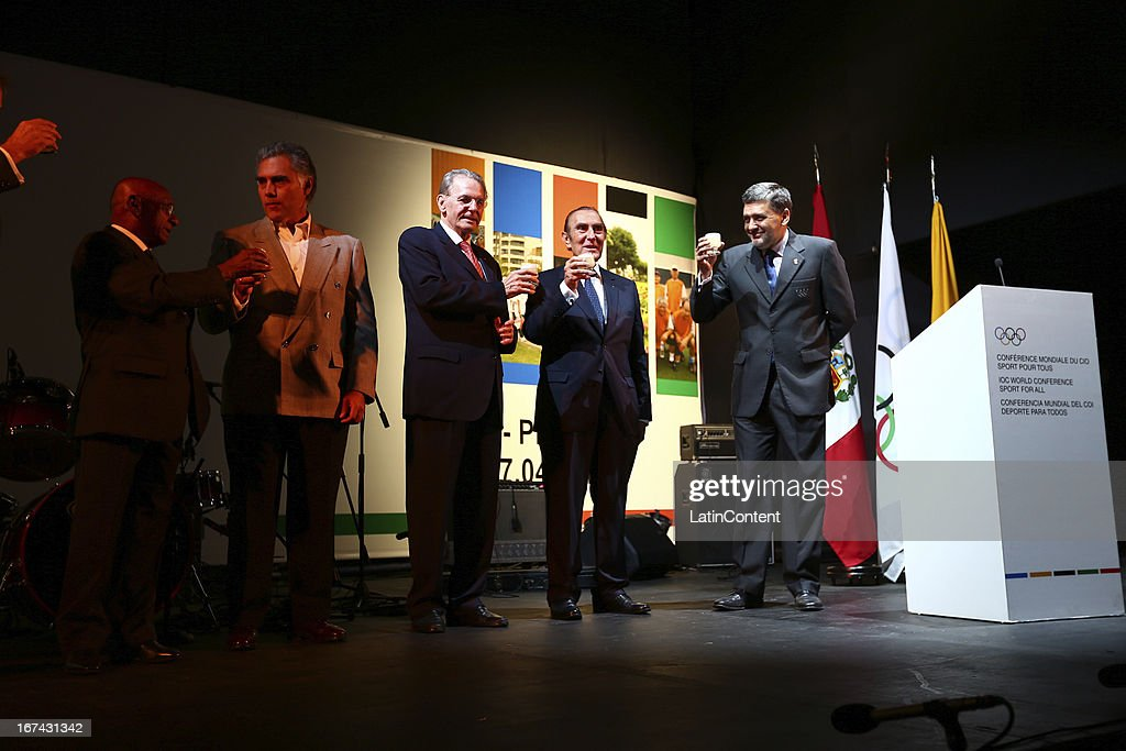 Ivan Dibos, Peruvian Olympic Comiteeœ, Jaques Rogge, IOC President, and Jose Qui–ñones, President of COP, make a toast at the Welcome Cocktail of the First Day of the 15th IOC World Conference Sports For All at the Parque Reducto on April 24, 2013 in Lima, Peru.