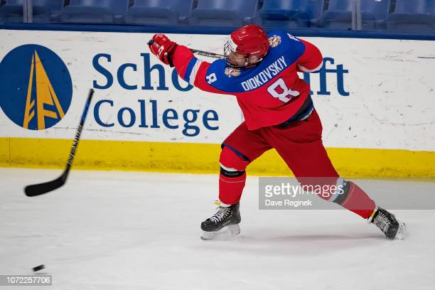 Ivan Didkovski of the U17 Russian Nationals breaks his stick on a slap shot against the Slovakia Nationals during day2 of game one of the 2018...