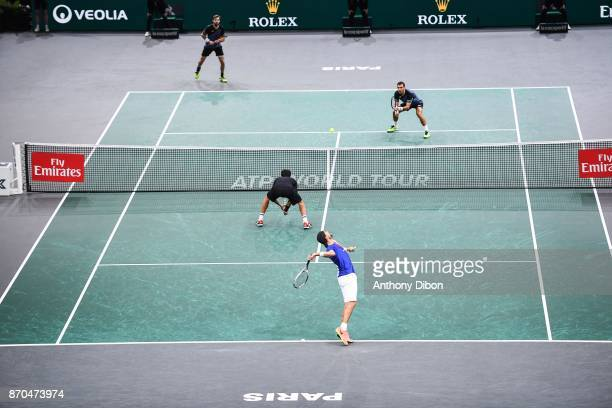 Ivan Dodig and Marcel Granollers vs Luaksz Kubot and Marcelo Melo during the Final of the Rolex Paris Masters at AccorHotels Arena on November 5 2017...