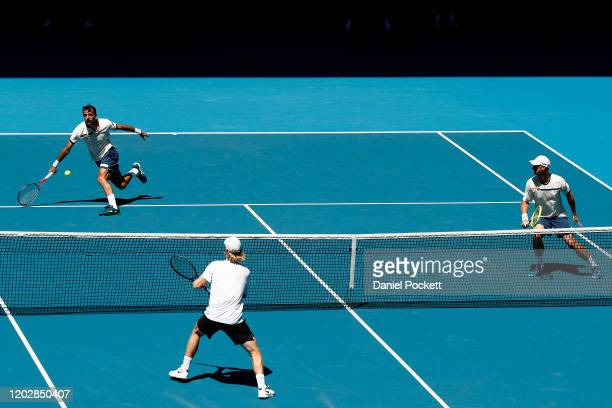 Ivan Dodig Croatia and Filip Polasek of Slovakia play in their Men's Doubles Semifinals match against Max Purcell and Luke Saville of Australia on...