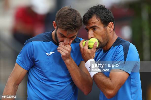 Ivan Dodig of Croatia and Marcel Granollers of Spain during the men's second round match against Nikola Mektic of Croatia and Albert RamosVinolas of...