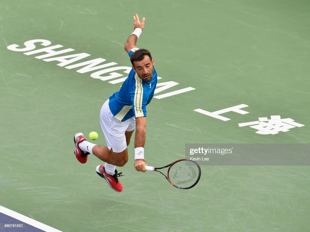 Ivan Dodig of Croatia in action in the match between Ivan Dodig of Croatia and Marcel Granollers of Spain and Henri Kontinen of Finland and John Peers of Australia on Day 6 during Men's Double Quater-Final on October 13, 2017 at Qizhong Stadium in Shanghai, China.