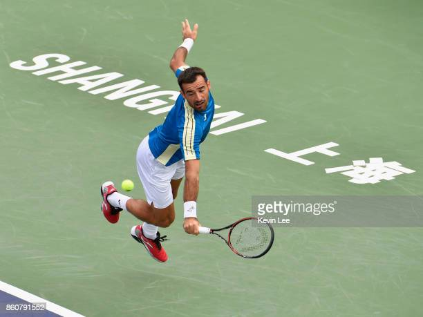 Ivan Dodig of Croatia in action in the match between Ivan Dodig of Croatia and Marcel Granollers of Spain and Henri Kontinen of Finland and John...