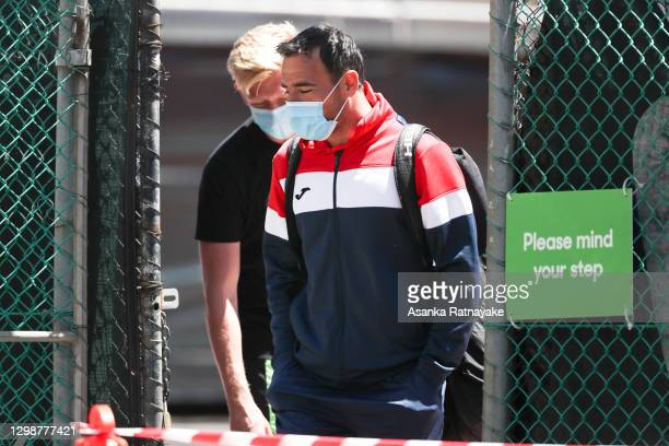 Ivan Dodig of Croatia is seen leaving the practice facilities after training at the View Hotel on January 27, 2021 in Melbourne, Australia. Tennis...