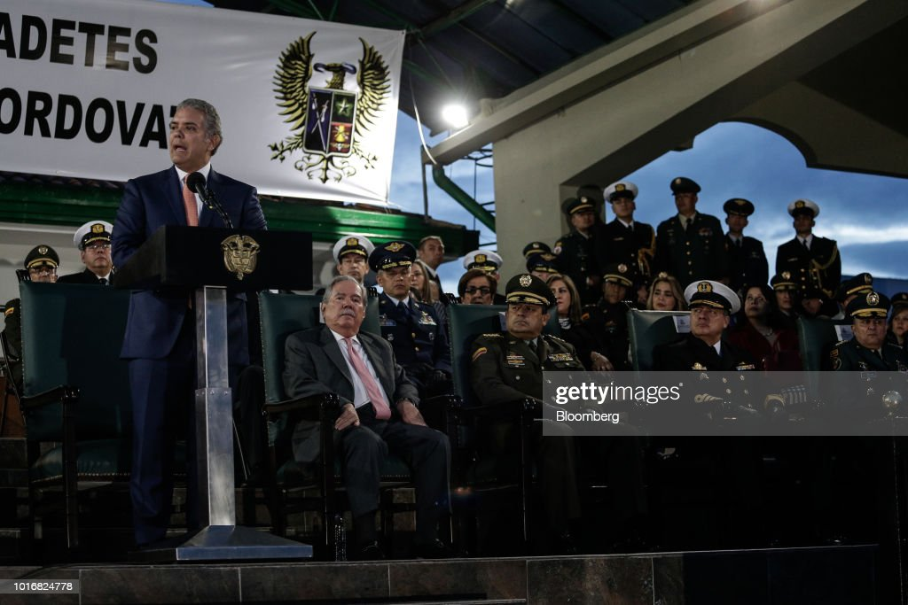 New Minister Of Defense Guillermo Botero Holds First Review Of Military Troops