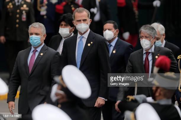 Ivan Duque President of Colombia, Evo Morales former President of Bolivia, King Felipe VI of Spain, Vice President of Brazil Hamilton Mourao,...