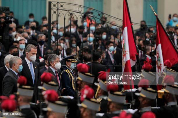 Ivan Duque President of Colombia, King Felipe VI of Spain and Guillermo Lasso President of Ecuador arrive at Congress for the presidential...
