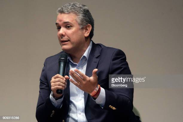 Ivan Duque presidential candidate for the Democratic Center Party speaks during a National Environmental Forum discussion in Bogota Colombia on...