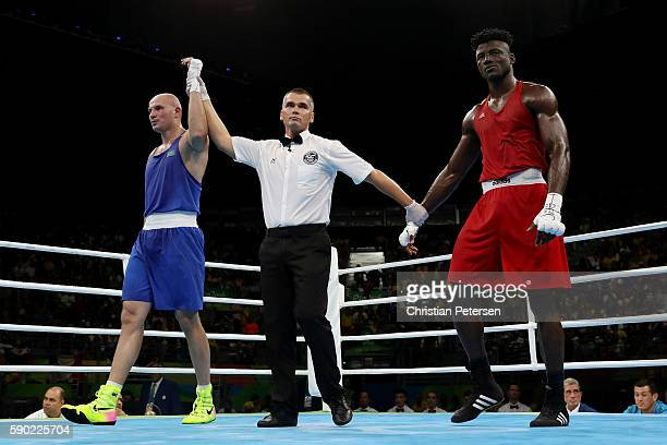 Ivan Dychko of Kazakhstan celebrates after defeating Efe Ajagba of Nigeria in the Men's Super Heavy Quarterfinal 4 on Day 11 of the Rio 2016 Olympic...