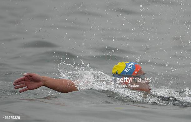Ivan Enderica of Ecuador competes in Open Water Swimming 10 km as part of the XVII Bolivarian Games Trujillo 2013 at Salaverry Port on November 23...