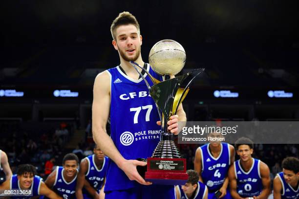 Ivan Fevrier #77 of U18 CFBB Paris after the EuroLeague Basketball Adidas Next Generation Tournament Championship Game between U18 CFBB Paris v U18...