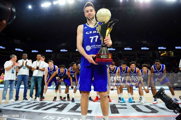 Ivan Fevrier #77 of U18 CFBB Paris in action during the EuroLeague Basketball Adidas Next Generation Tournament Championship Game between U18 CFBB...