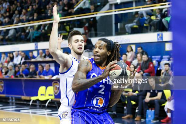 Ivan Fevrier of Levallois and Edward Daniel of Chalons Reims during the Pro A match between Levallois and Chalons Reims at Salle Marcel Cerdan on...
