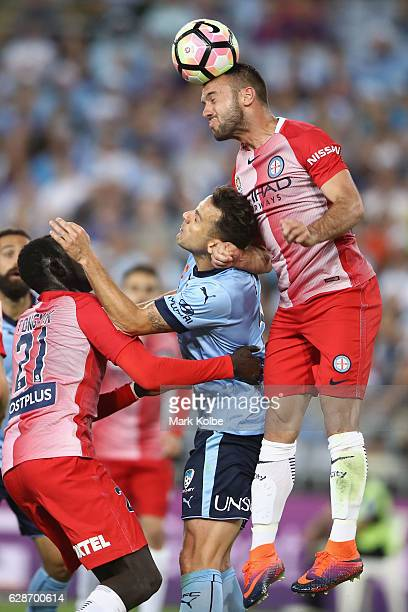 Ivan Franjic of Melbourne City heads the ball during the round 10 A-League match between Sydney FC and Melbourne City FC at ANZ Stadium on December...