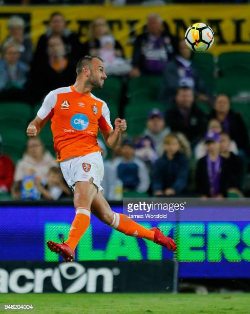 Ivan Franjic of the Brisbane Roar head the ball back out of defence during the round 27 ALeague match between the Perth Glory and the Brisbane Roar...