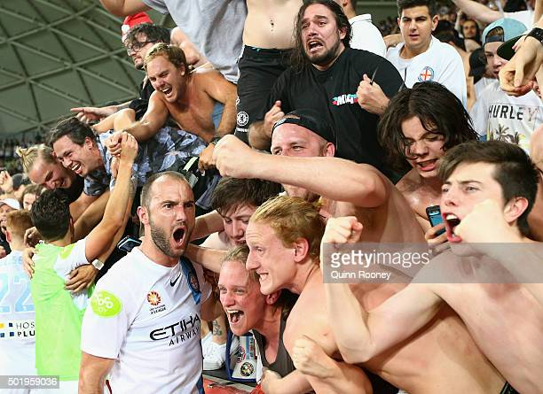 Ivan Franjic of the City celebrates with fans after winning the round 11 ALeague match between Melbourne City FC and Melbourne Victory at AAMI Park...