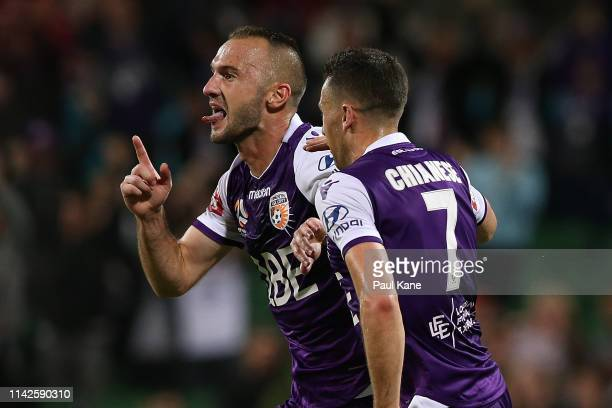 Ivan Franjic of the Glory celebrates a goal during the round 25 ALeague match between the Perth Glory and the Newcastle Jets at HBF Park on April 14...