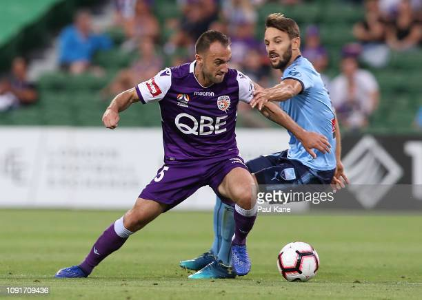 Ivan Franjic of the Glory controls the ball against Milos Ninkovic of Sydney during the round 12 ALeague match between the Perth Glory and Sydney FC...
