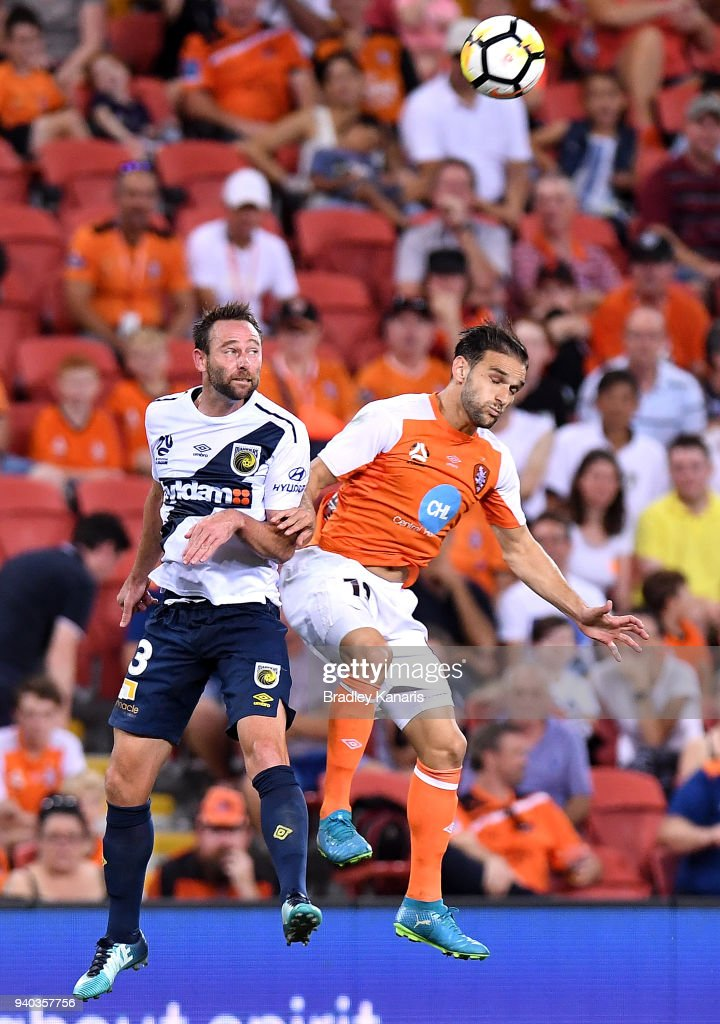 Ivan Franjic of the Roar gets above the defence during the round 25 A-League match between the Brisbane Roar and the Central Coast Mariners at Suncorp Stadium on March 31, 2018 in Brisbane, Australia.