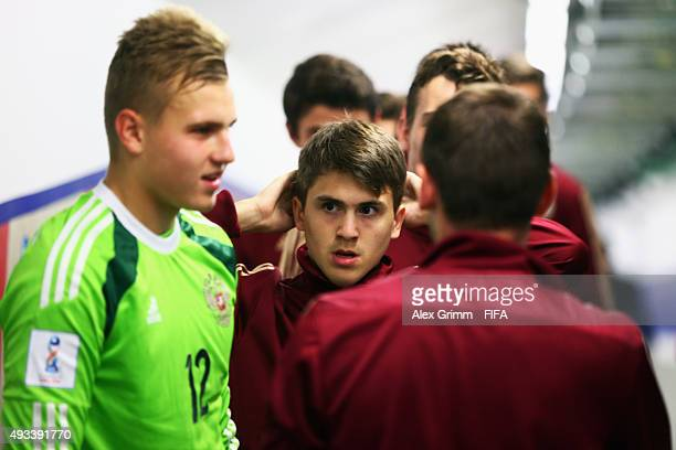 Ivan Galanin of Russia and team mates wait in the tunnel prior to the FIFA U17 World Cup Chile 2015 Group E match between Korea DPR and Russia at...