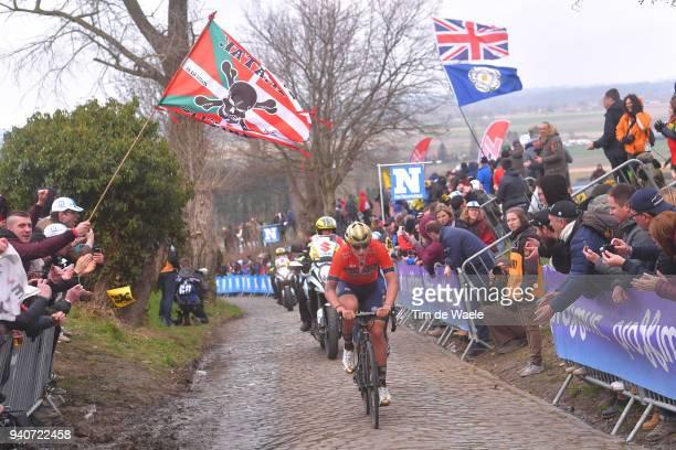 Ivan Garcia Cortina of Spain and Team Bahrain Merida / Oude Kwaremont / during the 102nd Tour of Flanders 2018 - Ronde Van Vlaanderen a 264,7km race...