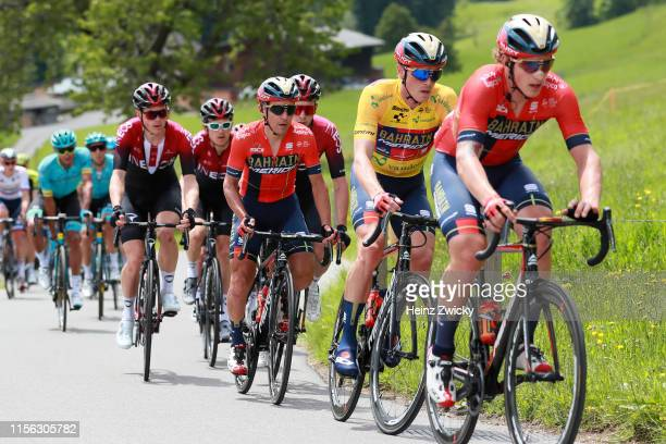 Ivan Garcia Cortina of Spain and Team Bahrain Merida / Rohan Dennis of Australia and Team Bahrain Merida Yellow Leader Jersey / Domenico Pozzovivo of...