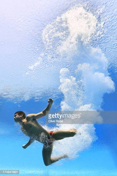 Ivan Garcia of Mexico competes in the Men's 10m Platform Diving Semifinal round on day eight of the 15th FINA World Championships at Piscina...