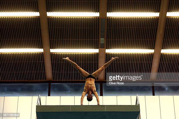 Ivan Garcia of Mexico in action during training on day three of the FINA/Midea Diving World Series 2013 at the Royal Commonwealth Pool on April 21...