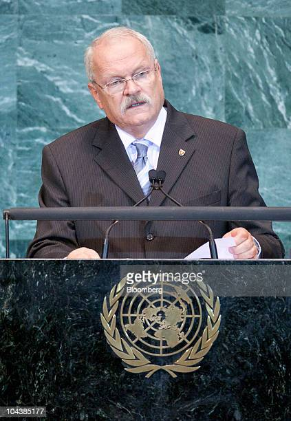 Ivan Gasparovic president of Slovakia speaks during the 65th annual United Nations General Assembly at the UN in New York US on Thursday Sept 23 2010...