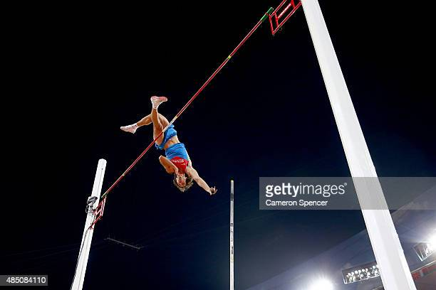 Ivan Gertlein of Russia competes in the Men's Pole Vault final during day three of the 15th IAAF World Athletics Championships Beijing 2015 at...