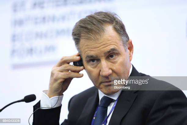 Ivan Glasenberg billionaire and chief executive officer of Glencore Plc pauses in a panel session during the St Petersburg International Economic...