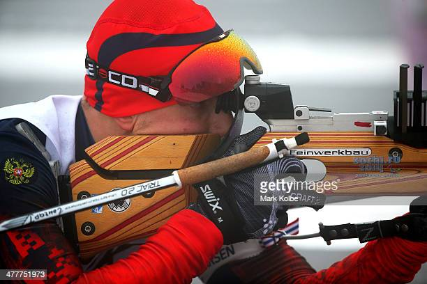 Ivan Goncharov of Russia competes in the Men's Biathlon 125km Sitting during day four of Sochi 2014 Paralympic Winter Games at Laura Crosscountry Ski...