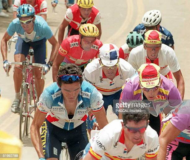 Ivan Gotti of Italy Mauro Gianetti of Switzerland Richard Virenque of France Miguel Indurain of Spain Zenon Jaskula of Poland and Dimitri Konychev of...