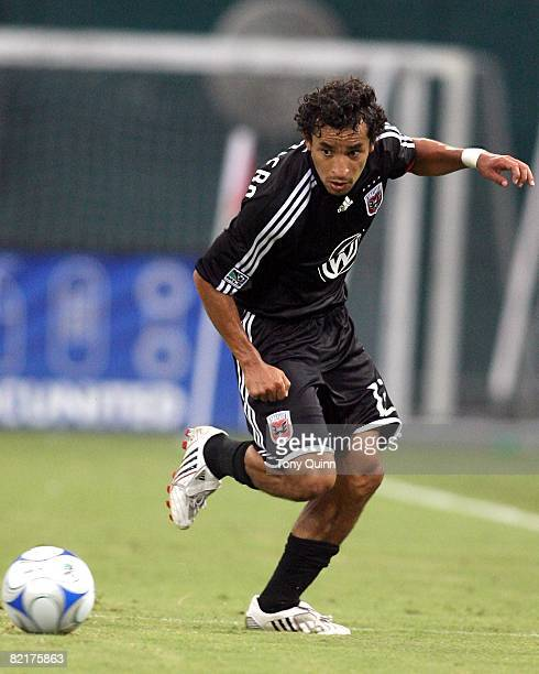 Ivan Guerrero of DC United moves up to a loose ball s during an MLS match at RFK Stadium against the Kansas City Wizards on August 2 2008 in...