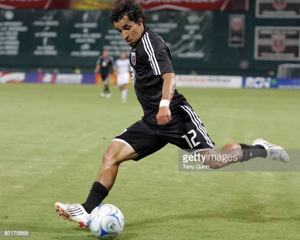Ivan Guerrero of DC United swings into a cross during an MLS match against the Kansas City Wizards at RFK Stadium on August 2 2008 in Washington DC