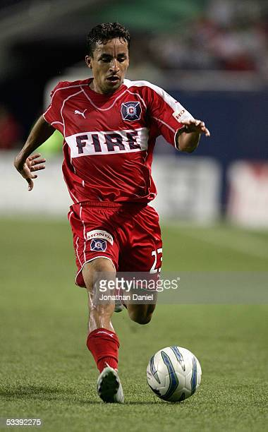 Ivan Guerrero of the Chicago Fire moves the ball on the left side against the Kansas City Wizards during their MLS match on August 10 2005 at Soldier...