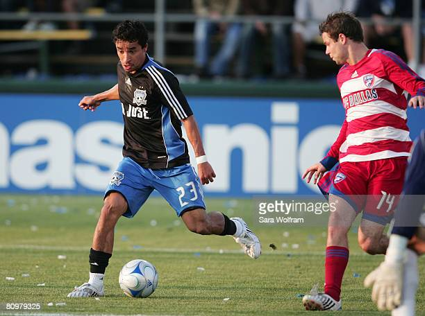 Ivan Guerrero of the San Jose Earthquakes prepares to take a shot on goal during the MLS game against FC Dallas at Buck Shaw Stadium on May 3, 2008...