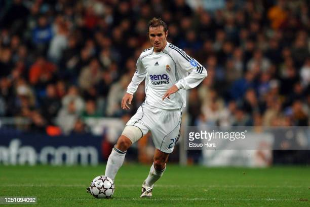 Ivan Helguera of Real Madrid in action during the UEFA Champions League Group E match between Real Madrid and Olympique Lyonnais at the Estadio...