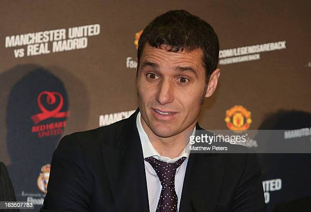 Ivan Helguera of Real Madrid Legends speaks at a press conference to announce a charity match between Manchester United Legends and Real Madrid...