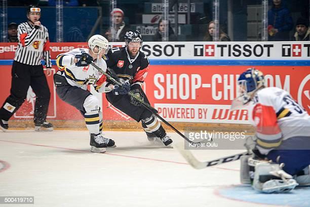 Ivan Huml of Karpat Oulu and Mikko Kukkonen of Espoo Blues during the Champions Hockey League quarter final between Karpat Oulu and Espoo Blues at...