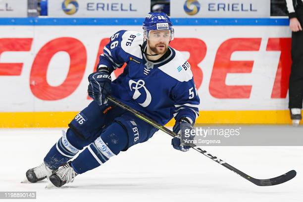 Ivan Igumnov of the Dynamo Moscow skates against the CSKA at the Arena VTB Moscow on January 8, 2020 in Moscow, Russia.