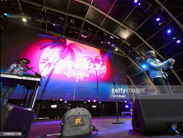 Ivan Jackson and Fatherdude of Brasstracks perform on Fremont Stage during the 2018 Life Is Beautiful Festival on September 22 2018 in Las Vegas...