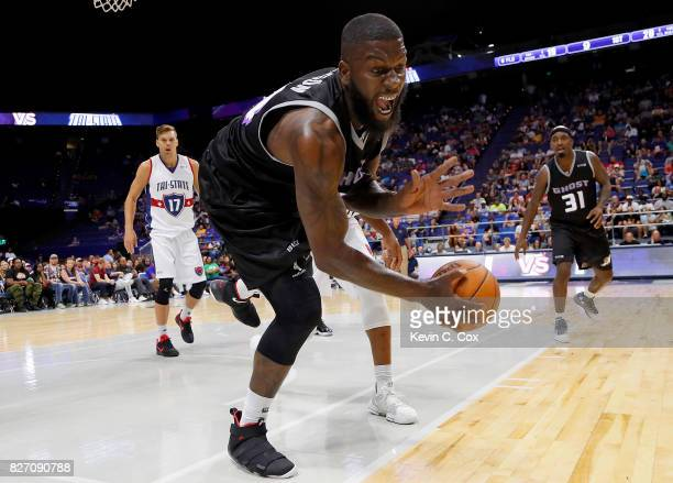 Ivan Johnson of Ghost Ballers dives for a ball during the game against TriState during week seven of the BIG3 three on three basketball league at...