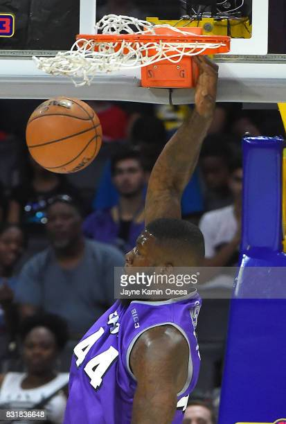 Ivan Johnson of Ghost Ballers dunks during the BIG3 game against the 3 Headed Monsters at Staples Center on August 13 2017 in Los Angeles California