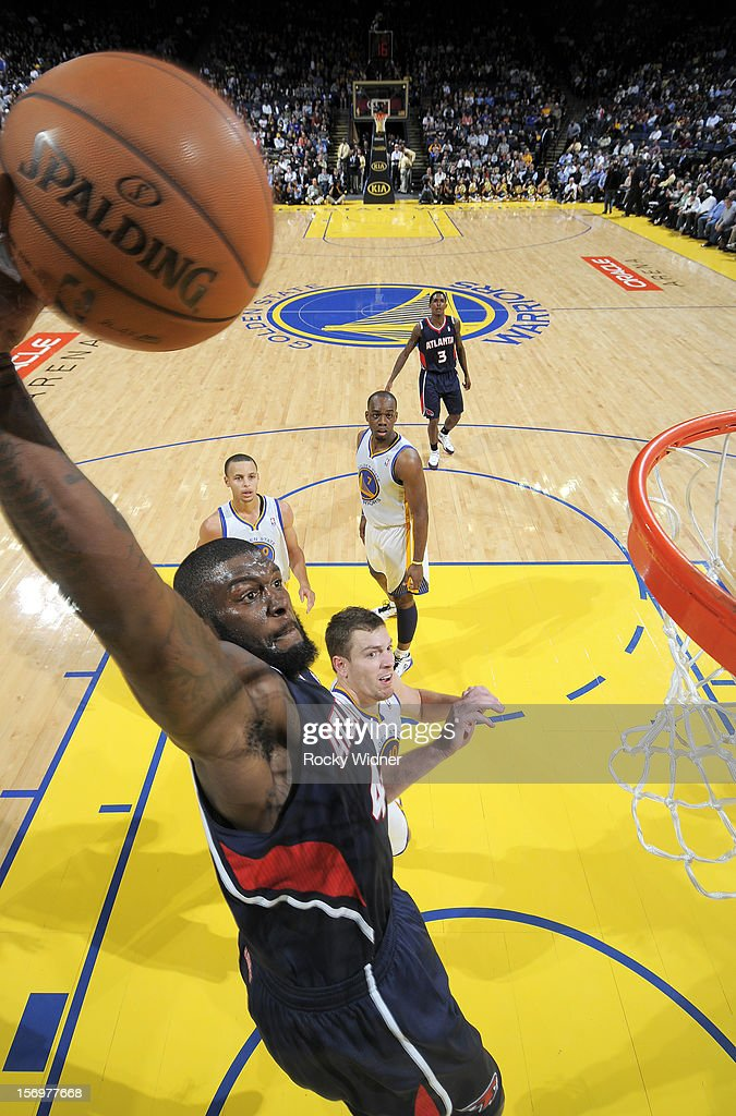 Ivan Johnson #44 of the Atlanta Hawks goes up for the dunk against the Golden State Warriors on November 14, 2012 at Oracle Arena in Oakland, California.