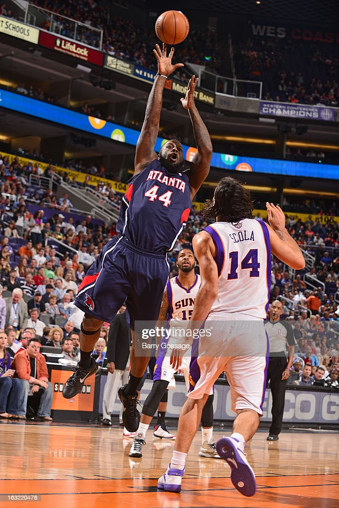 Ivan Johnson #44 of the Atlanta Hawks puts up a shot against the Phoenix Suns on March 1, 2013 at U.S. Airways Center in Phoenix, Arizona.