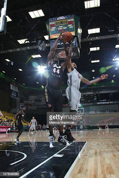 Ivan Johnson of the Erie Bayhawks goes to the basket against Brian Hamilton of the Utah Flash at McKay Events Center on Decemeber 07 2010 in Orem...