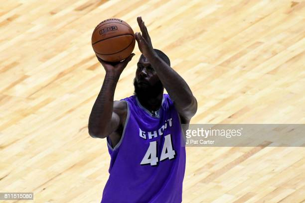 Ivan Johnson of the Ghost Ballers attempts a free throw against the Ball Hogs during week three of the BIG3 three on three basketball league at BOK...